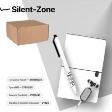 Набор подарочный SILENT-ZONE: бизнес-блокнот, ручка, наушники, коробка, стружка, бело-черный, Белый