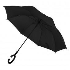 Зонт-трость HALRUM, пластиковая ручка, полуавтомат, Черный