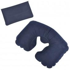 Подушка надувная дорожная в футляре; синий; , Синий