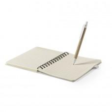 Набор GLICUN: блокнот B6 и ручка, рециклированный картон/пластик с пшеничным волокном, бежевый, бежевый