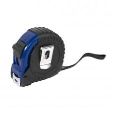 Рулетка с металлическим клипом 5 м., синяя, пластик, Черный