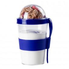 Контейнер для еды YOPLAT с ложкой, пластик, Синий (Pantone 286C)