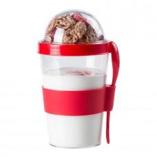 Контейнер для еды YOPLAT с ложкой, пластик, Красный (Pantone 485C)