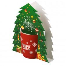 Коробка-украшение для чашки( D=9 см) в виде елки, белый