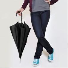 Зонт-трость с пластиковой ручкой, механический, Черный