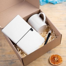 Набор подарочный FINELINE: кружка, блокнот, ручка, коробка, стружка, белый с черным, Белый