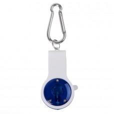Свисток с фонариком и светоотражателем FLOYKIN на карабине, синий с белым, 3,7х6,7х1,5см, Белый