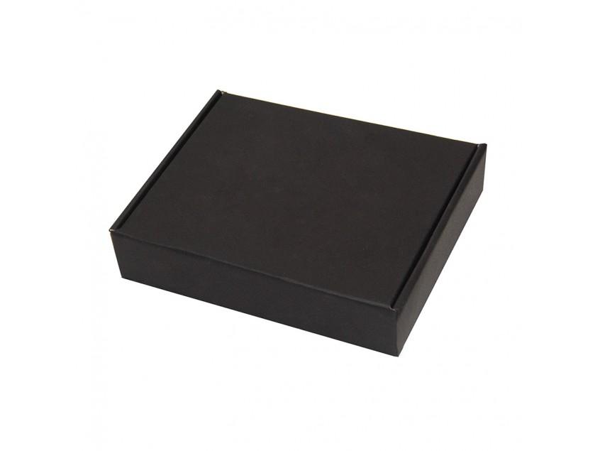 Коробка подарочная, внешний размер 18,5х14,5х3,8см, картон, самосборная, черная, черный