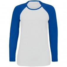 Футболка женская с длинным рукавом Milky LSL, белая с ярко-синим