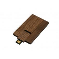 USB 2.0- флешка на 32 Гб в виде деревянной карточки с выдвижным механизмом