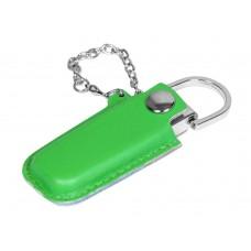 USB 2.0- флешка на 16 Гб в массивном корпусе с кожаным чехлом
