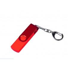 USB 2.0/micro USB/Type-С- флешка на 16 Гб 3-в-1 с поворотным механизмом