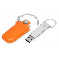 USB 2.0- флешка на 8 Гб в массивном корпусе с кожаным чехлом