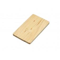 USB 2.0- флешка на 16 Гб в виде деревянной карточки с выдвижным механизмом