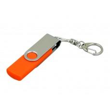 USB 2.0- флешка на 16 Гб с поворотным механизмом и дополнительным разъемом Micro USB