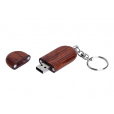 USB 2.0- флешка на 32 Гб овальной формы и колпачком с магнитом