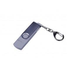 USB 2.0/micro USB/Type-C- флешка на 16 Гб c поворотным механизмом