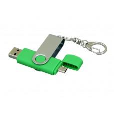 USB 2.0- флешка на 64 Гб с поворотным механизмом и дополнительным разъемом Micro USB