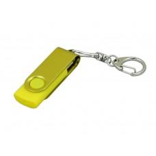 USB 2.0- флешка промо на 4 Гб с поворотным механизмом и однотонным металлическим клипом