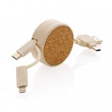 Кабель с выдвижным механизмом 6 в 1 из пробки и пшеничной соломы