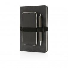 Блокнот Deluxe в твердом переплете из PU с держателем для телефона и ручки, А5
